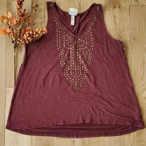 Knox Rose Maroon Tank Top with gold rhinestones